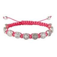 St. Benedict Medal Rose Pink Slip Knot Cord Adjustable Bracelet