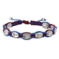 Divine Mercy  and 'Jesus I Trust In You'  Medals Blue and Red  Macrame   Slip Knot Cord Adjustable Bracelet