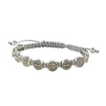 St. Benedict Medal Grey Slip Knot Cord Adjustable  Bracelet