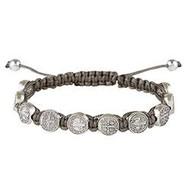 St. Benedict Medal Dark Grey Slip Knot Cord Adjustable  Bracelet