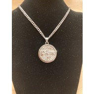 """St. Christopher 1.5"""" Pendant on Heavy Silver Plated Stainless Steel Chain"""