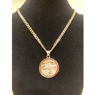 """St. Christopher 1.5"""" Pendent on Heavy Gold Plated Stainless Steel Chain"""