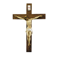 """Alabaster Crucifix, 15""""H, Hand Painted Made in Italy"""