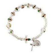 White Cloisonné Rosary Bracelet