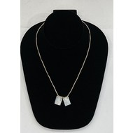"""Mother of Pearl Scapular Necklace, Sacred Heart of Jesus & Our Lady of Mount Carmel 1/2"""" On Gold Plated Chain"""