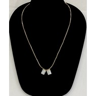 """Mother of Pearl Scapular Necklace, Sacred Heart of Jesus & Our Lady of Mount Carmel 1/4"""" On Gold Plated Chain"""