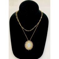 Our Lady of Guadalupe Mother of Pearl with Light Pink Rhinestone Necklace on Double Stranded Gold Plated Chain