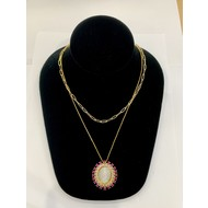Our Lady of Guadalupe Mother of Pearl with Dark  Pink Rhinestone Necklace on Double Stranded Gold Plated Chain