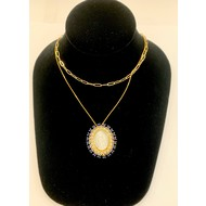 Our Lady of Guadalupe Mother of Pearl with Blue Rhinestone Necklace on Double Stranded Gold Plated Chain