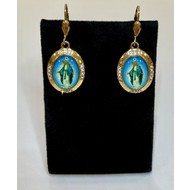 Our Lady of Grace Gold Plated Full Color Oval Earrings with Rhinestones
