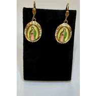 Our Lady of Guadalupe Gold Plated Full Color Oval Earrings with Rhinestones