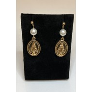 Gold Plated Miraculous Medal Drop Earrings with Pearls