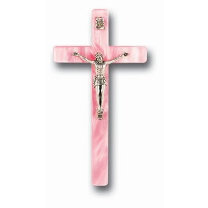"""Pink Pearlized Baby Crucifix 7"""""""
