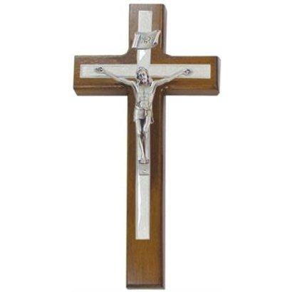 """Walnut  10"""" Crucifix , Antique Pewter Corpus, White Pearlized Epoxy"""