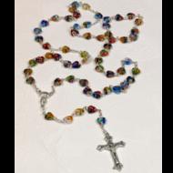 Rosary, Heart Shaped Imitation Murano Glass Beads