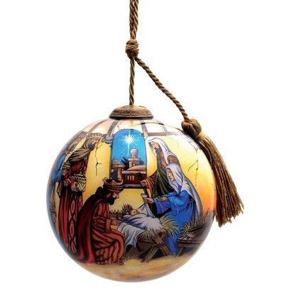 Baby Jesus  Three Kings Religious Glass Ornament