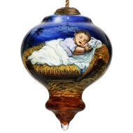 Away in a Manger Religious Christmas Hanging  Glass Ornament