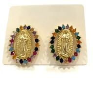 Our Lady of Guadalupe Earrings Oval Gold Plated with Multicolor Rhinestones