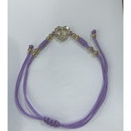 Our Lady of Guadelupe, Heart Lavender Slip Knot Macrame Bracelet Gold Plated with Rhinestones