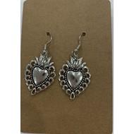 Silver Plated Sacred Heart Dangle Earrings