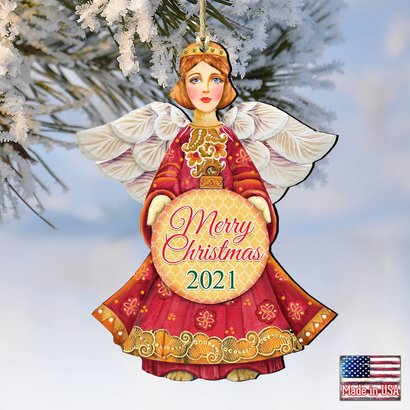2021 Merry Christmas Wooden Ornaments by G. DeBrekht