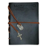 Faux Leather Journal: Man of God with Cross Charm Black