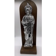 Pewter Saint Jude Mounted on a Wooden Wall Niche (14″ x 6″)