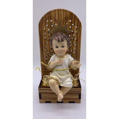 """4""""Baby Jesus Seated on 5.75"""" Olive Wood Backdrop/Chair"""