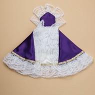 "12"" Infant of Prague Purple Satin Dress"