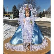 "24""Infant of Prague Light Blue Satin Dress"