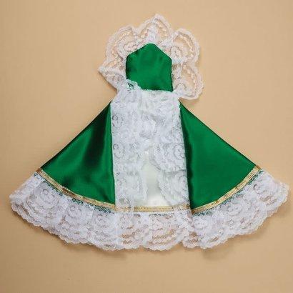 "12"" Infant of Prague  Kelly Green Satin Dress"