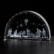 Nativity Scene Etched Glass 7'' W x 4''H x 1-1/2''D