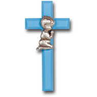 """Blue Wood Cross with Silver Corpus, 7"""""""