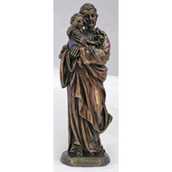 St. Joseph/Child from the Veronese Collection, lightly hand-painted cold cast bronze, 8inches.