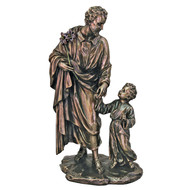 """St. Joseph & Child from the Veronese Collection in lightly hand-painted cold cast bronze, 8.25""""."""