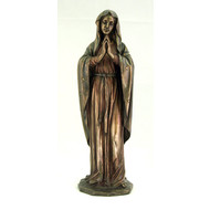 Praying Virgin statue in cold-cast bronze and lightly hand-painted, 11.75inches