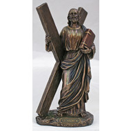 """St. Andrew Veronese Statue, lightly hand-painted cold cast bronze, 8"""""""