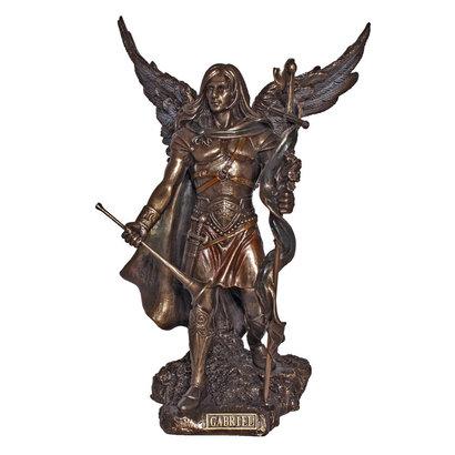 "Archangel Gabriel, Lightly Hand Painted, Cold Cast Bronze 9"" Statue"