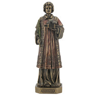 """St. Stephen Veronese statue in lightly hand-painted cold cast bronze, 9""""."""