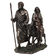 """""""Journey TO Bethlehem"""" Veronese statue in lightly hand-painted cold cast bronze, 8x9inches."""