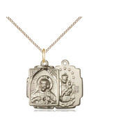 """Scapular Medal 14kt Gold Filled with Light  Curb Chain 18"""""""
