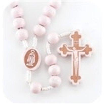 Pink Round Wood Bead Rosary