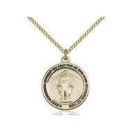 """Miraculous Medal 14kt Gold Filled with Light Curb Chain 18"""""""