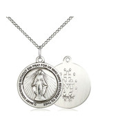 """Miraculous Medal Sterling Silver with Light Curb Chain 18"""""""