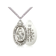 """Miraculous Medal Sterling Silver with Heavy Curb Chain 18"""""""