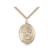 """St. Michael Medal 14kt Gold Filled with Heavy Curb Chain 18"""""""