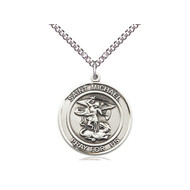 """St. Michael Sterling Silver Medal with Heavy Curb Chain 18"""""""