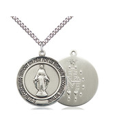 """Miraculous Medal Sterling Silver with Heavy Curb Chain 24"""""""
