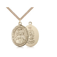 """Scapular Medal 14kt Gold Filled with Heavy Curb Chain 24"""""""