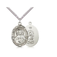 """Scapular Medal Sterling Silver with Heavy Curb Chain 24"""""""